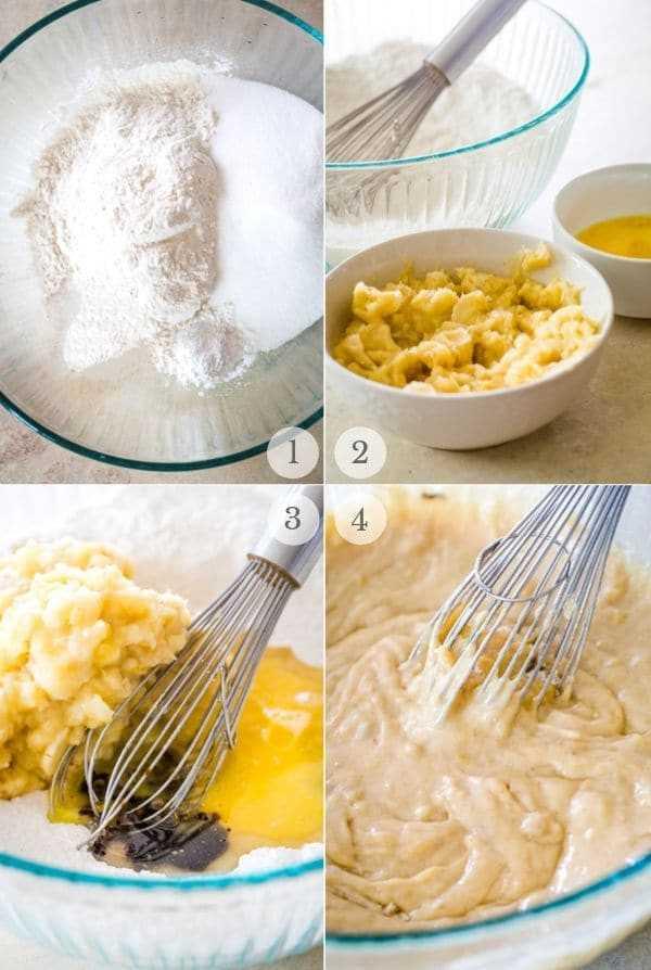 receta de pastel de café de plátano pasos collage de fotos 1