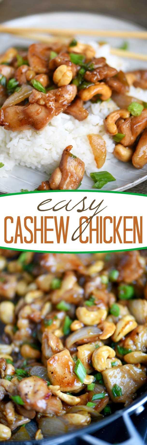 receta fácil de pollo con anacardos en sartén y en plato