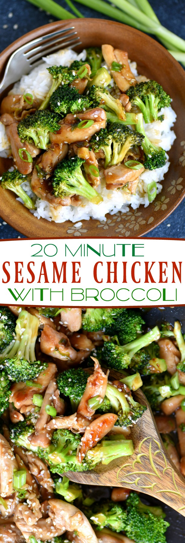 This 20-minute sesame chicken with broccoli will quickly become your favorite dinner! Serve on white or brown rice for a perfect meal! Much better than takeaway food! // Mom waiting time
