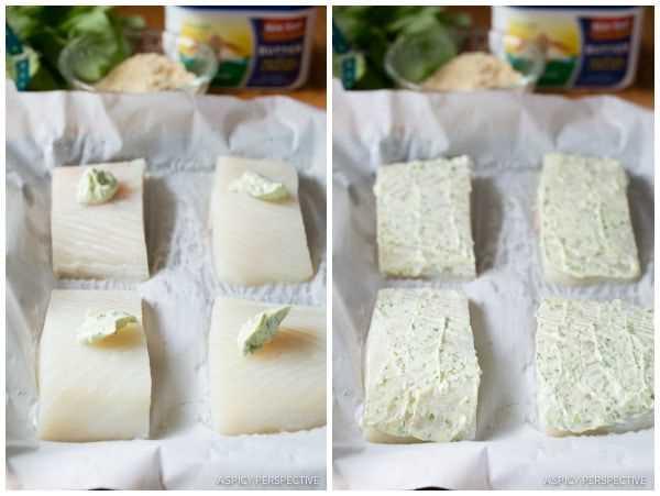 Hacer halibut al horno con costra de almendras con mantequilla de albahaca en ASpicyPerspective.com # 5ingredient #halibut
