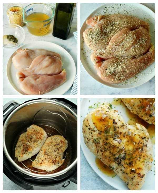 Etapas da colagem IP do peito de frango Potenciômetro instantâneo fácil do peito de frango