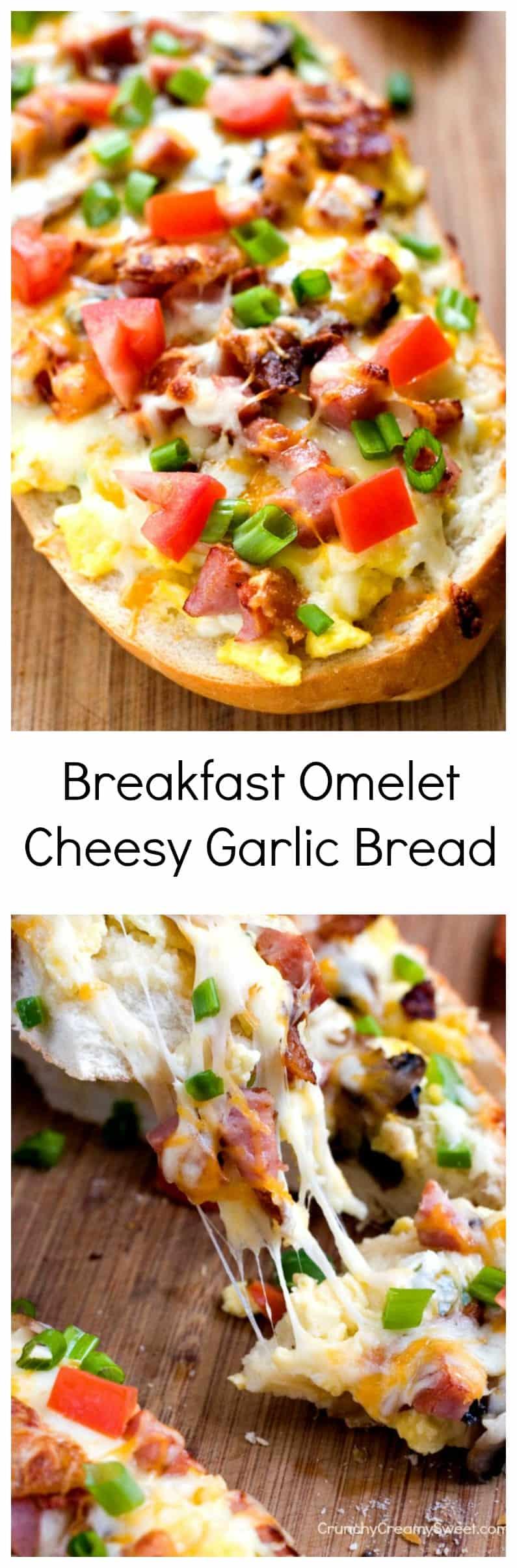 Desayuno Omelet Cheesy Pan de ajo Pan fácil cubierto con huevos tocino champiñones y pimientos Desayuno Omelet Cheesy Pan de ajo