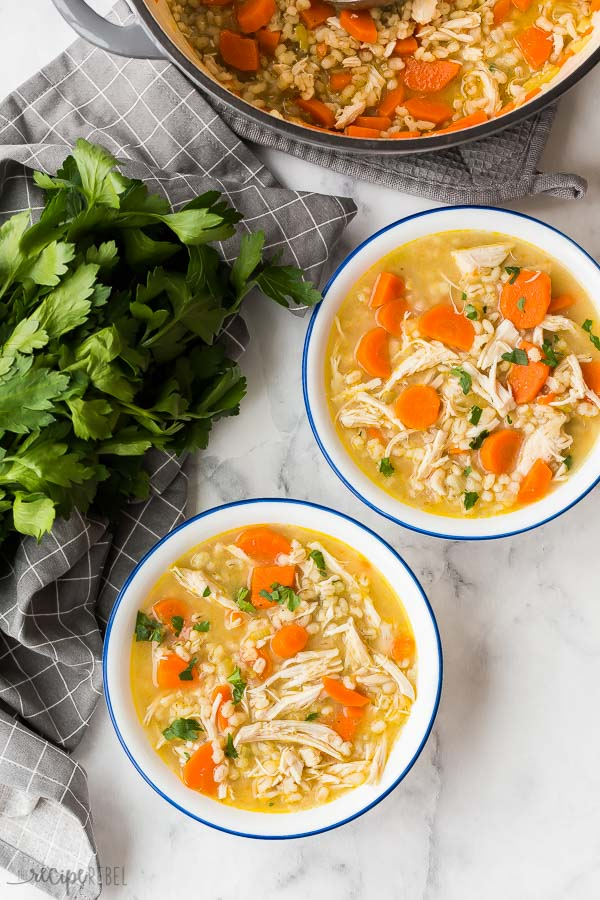 chicken and barley soup two bowls