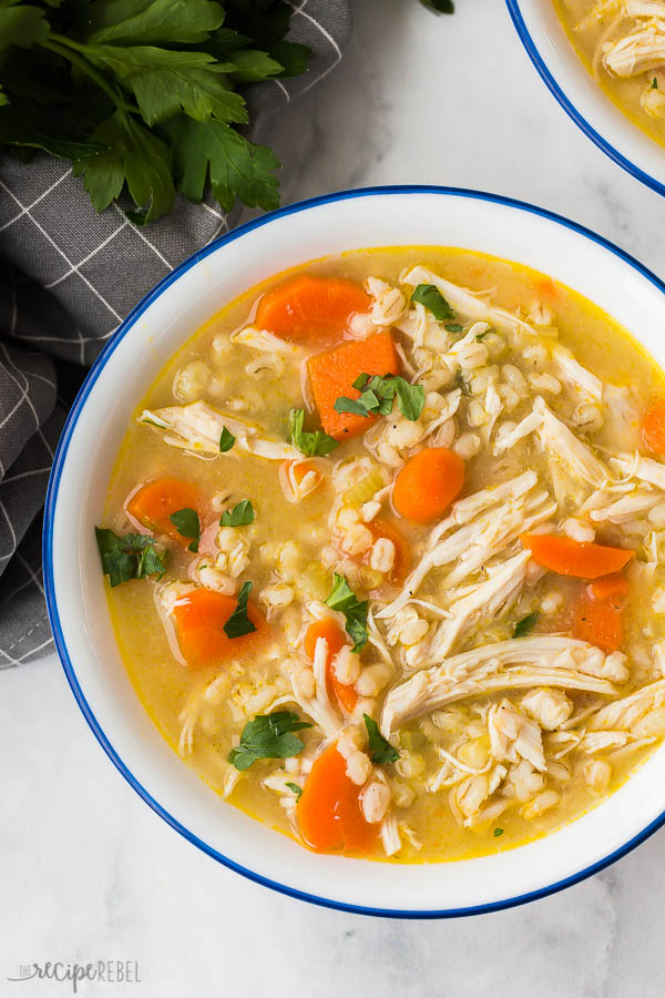 chicken and barley soup close up