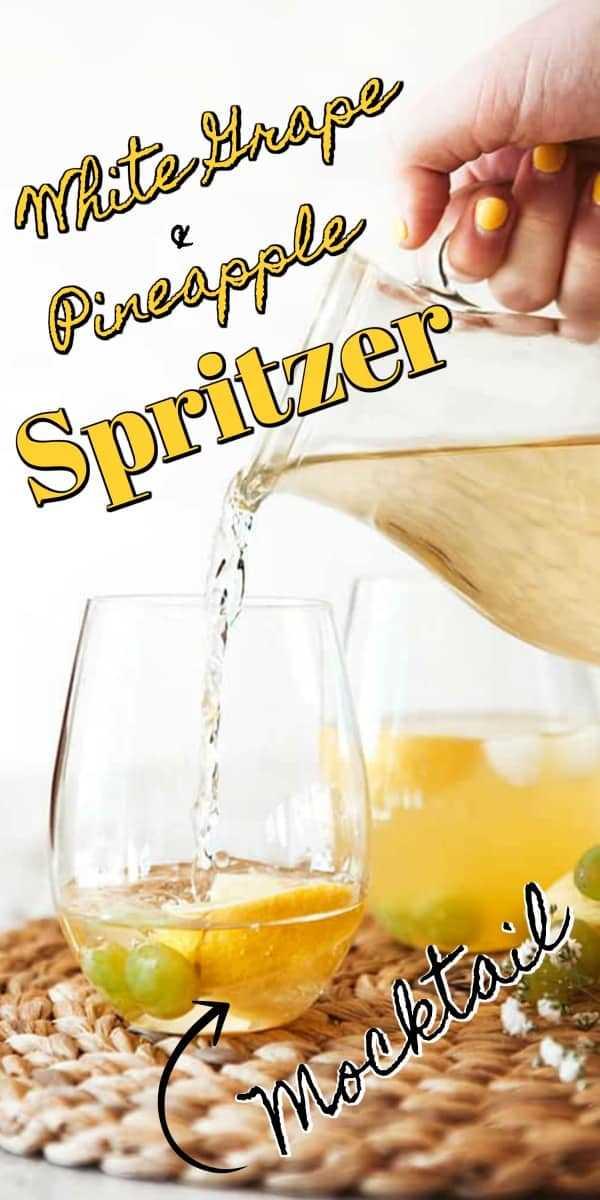 Este Spritzer de uva blanca y piña es una bebida sin alcohol deliciosamente simple para adultos. Perfecto para la primavera y el verano entretenido! #mocktail #spritzer
