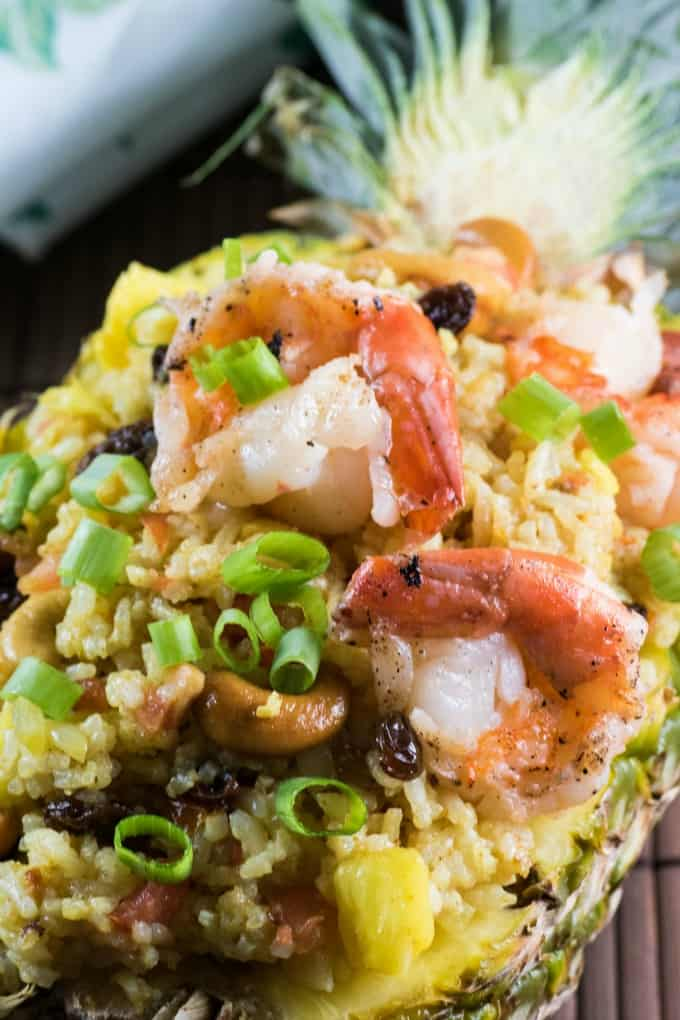 Close up of shrimp on fried rice