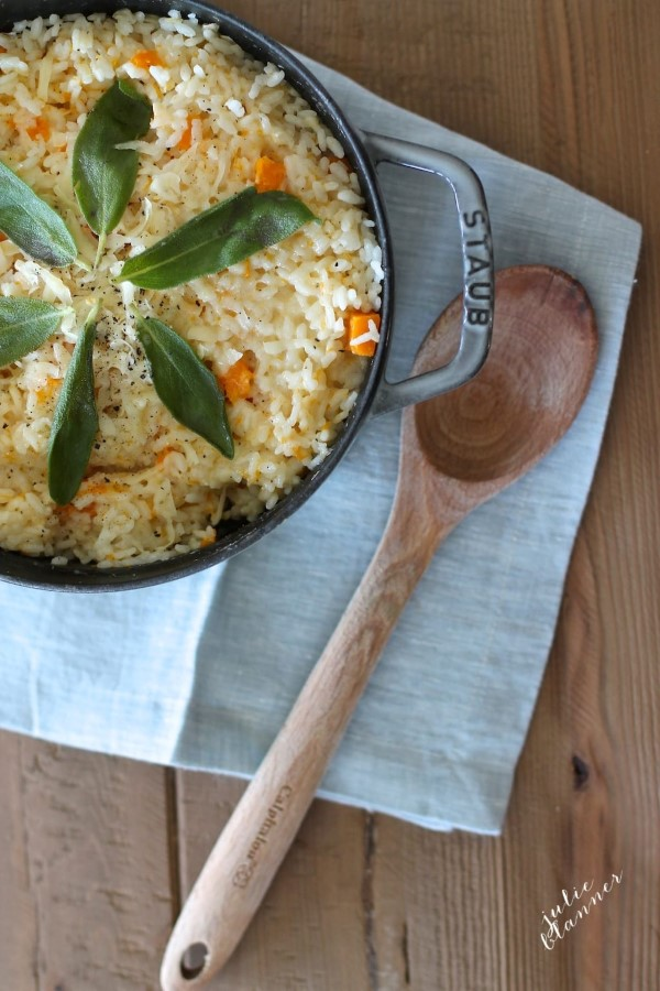 Butternut squash risotto in the Staub pan