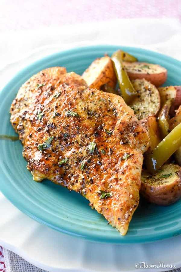 Honey Balsalmic Sheet Pan Chicken on a blue plate