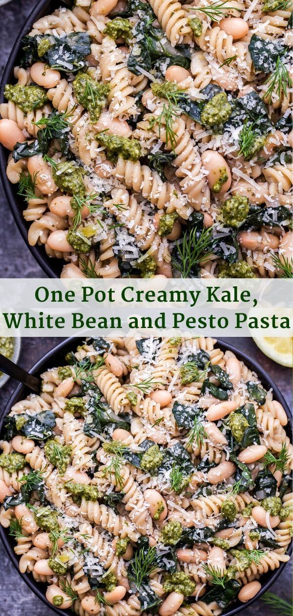One Pot Creamy Kale, White Bean and Pesto Pasta Pinterest Collage.