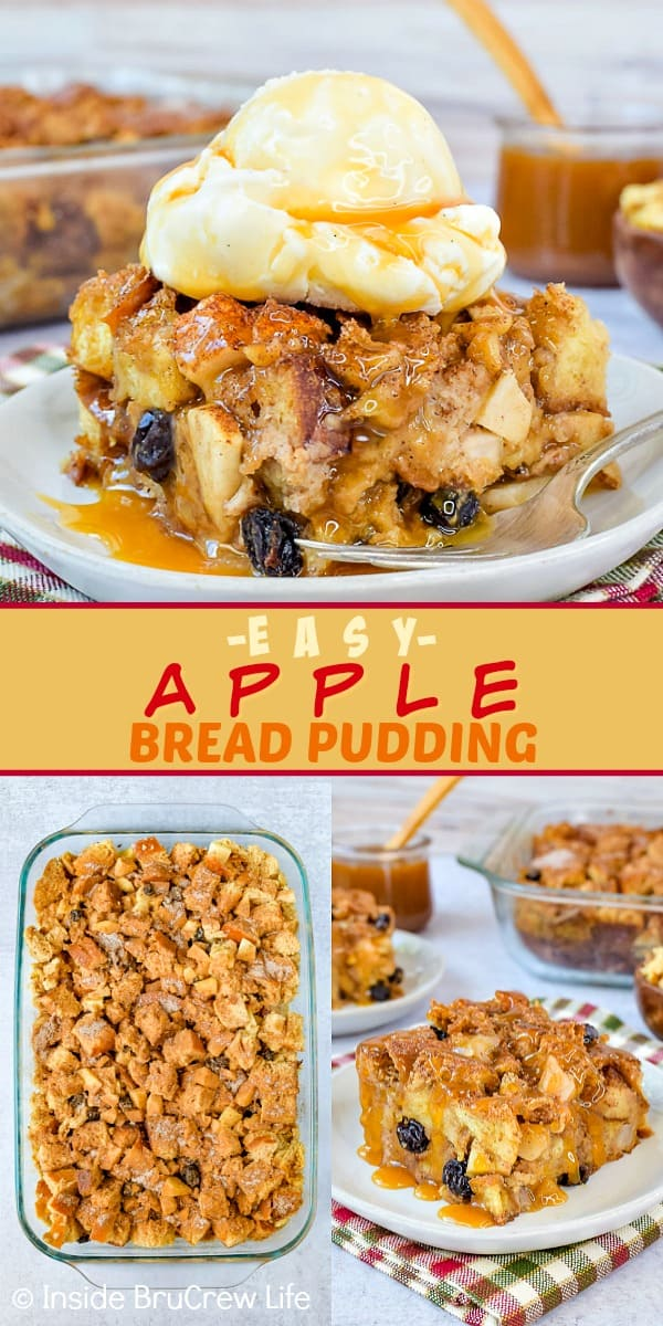 Budín de pan de manzana fácil: agregar frutas y nueces a este budín de pan lo convierte en el desayuno o postre perfecto para el otoño. Prueba esta receta fácil y sírvela con jarabe de arce o caramelo y helado este otoño. #apple #pudin de pan #caída #desierto