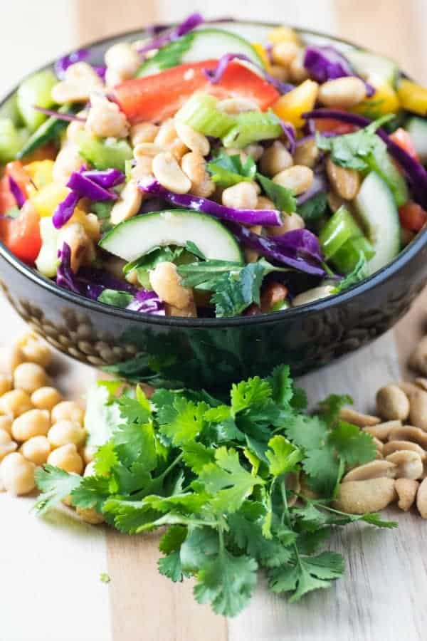 Crispy Thai Chickpea and Peanut Salad in Black Bowl