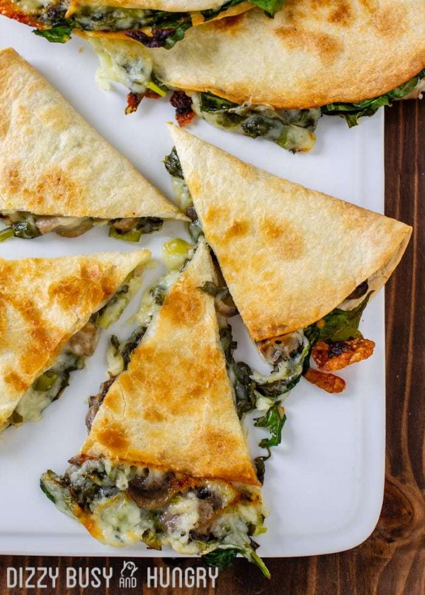 Baked Mushroom and Spinach Quesadillas on a White Tray