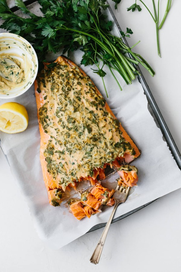 Dijon Baked Salmon on a parchment lined baking sheet
