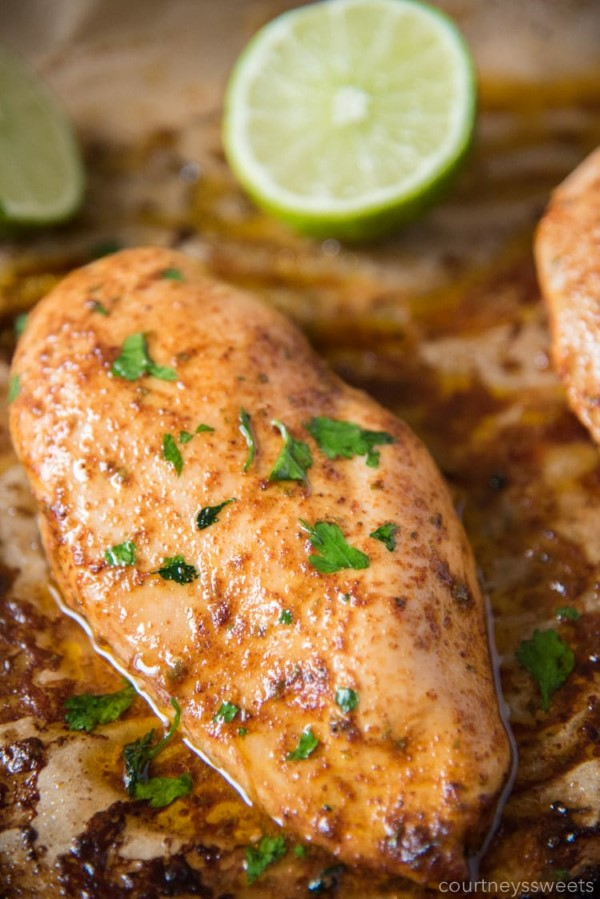Chili Lime Chicken in a pan with lime