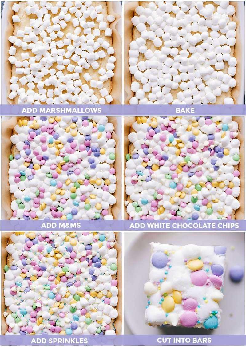 Fotografias do processo: imagens de marshmallows, m & ms e pedaços de chocolate branco adicionados às barras