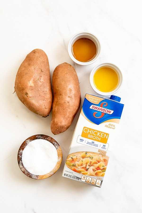 Ingredientes de puré de batatas instantáneas