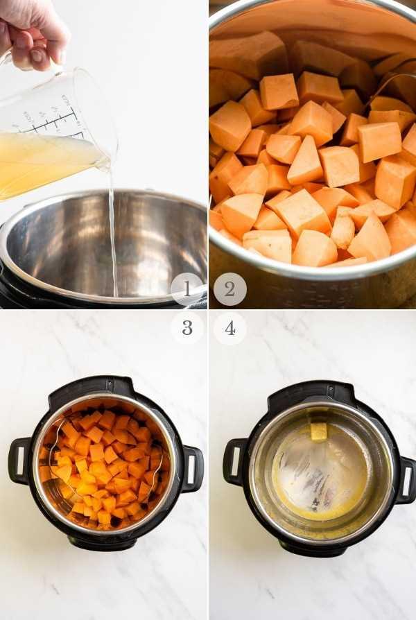 Puré Instant Pot Pot Sweet Potatoes pasos 1-4 collage
