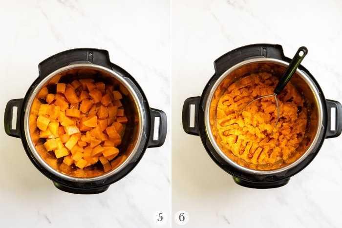 Puré de papas instantáneas de bote instantáneo pasos 5-6 collage