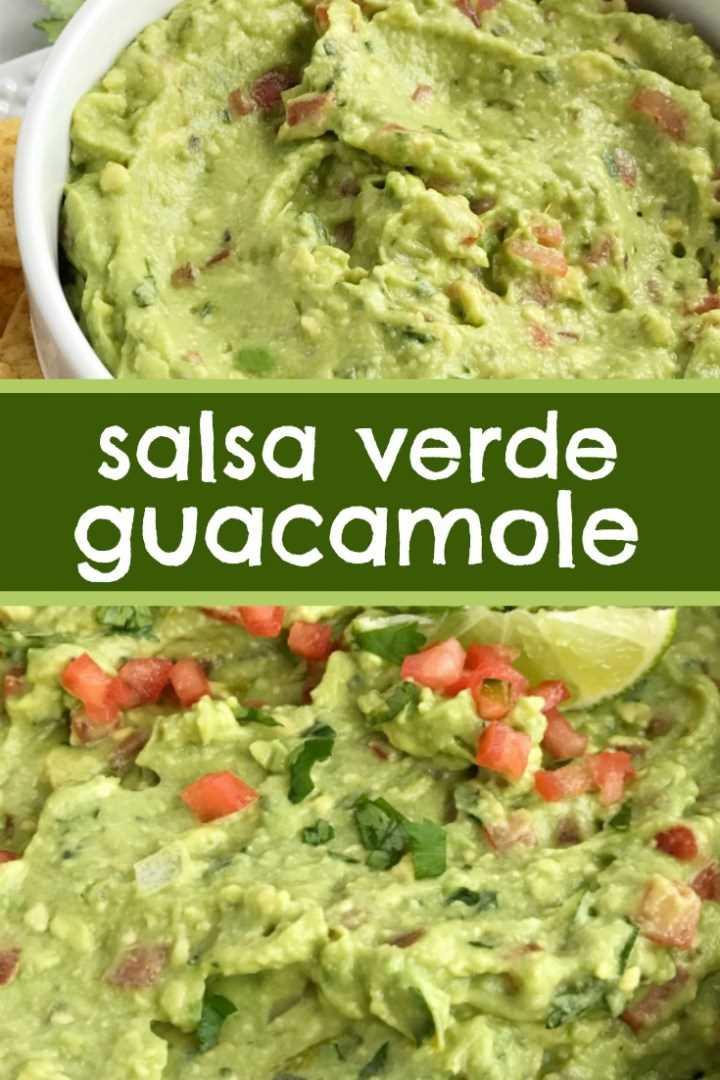 Salsa Verde Guacamole | Receta de guacamole | Aperitivo | La salsa verde guacamole está cargada con tomate, cilantro, aguacate machacado, jalapeño y salsa verde. Sirve con chips de tortilla para un delicioso aperitivo de fiesta y un favorito de los fanáticos para una fiesta de un día de Super Bowl. Sirve como cobertura para tacos, tazones de burritos y nachos. #guacamole # aperitivos #superbowlfood #footballfood #recipeoftheday #easyrecipe