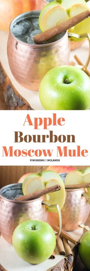 ¡Apple Bourbon Moscow Mule servido en magníficas tazas de cobre hechas a mano son perfectas para las vacaciones! #moscowmuled #coppermugs #manzanas #vidas #borbón
