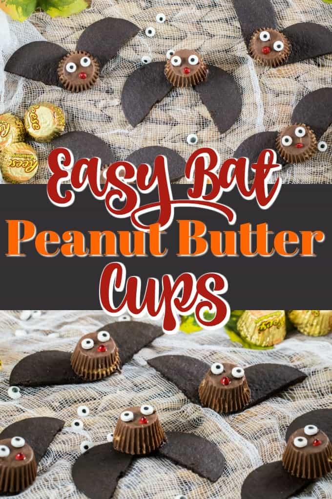 ¡Estas adorables tazas Easy But Peanut Butter Cup son rápidas de hacer como una artesanía comestible que toda la familia puede disfrutar! # murciélagos # tratamientos #Halloween