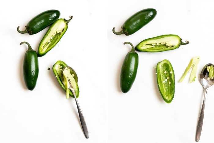cómo quitar las semillas de pimiento jalapeño (collage de fotos)
