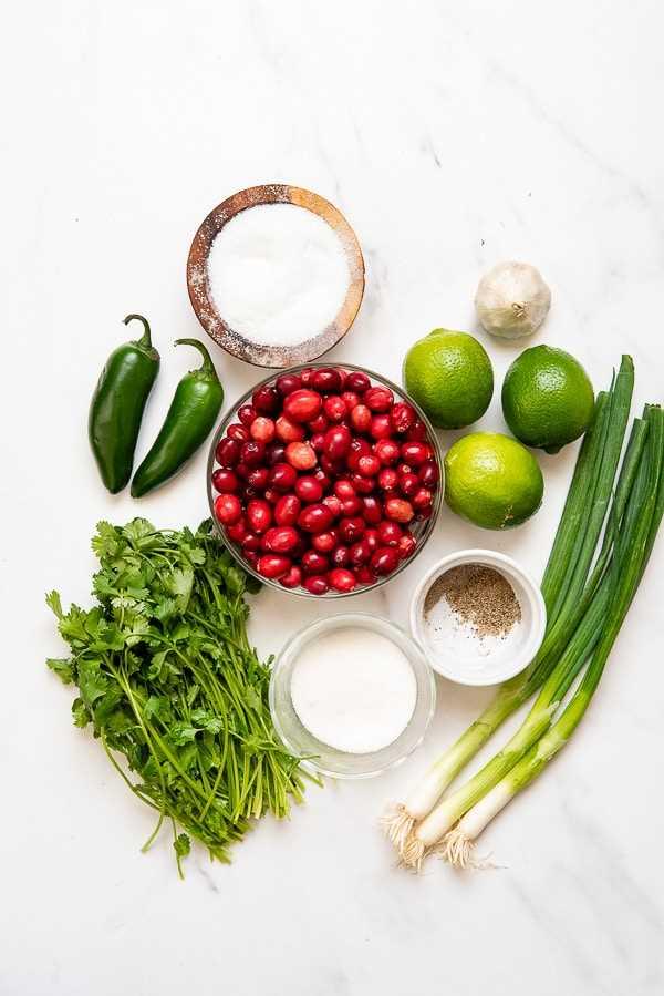 Ingredientes de salsa de arándanos