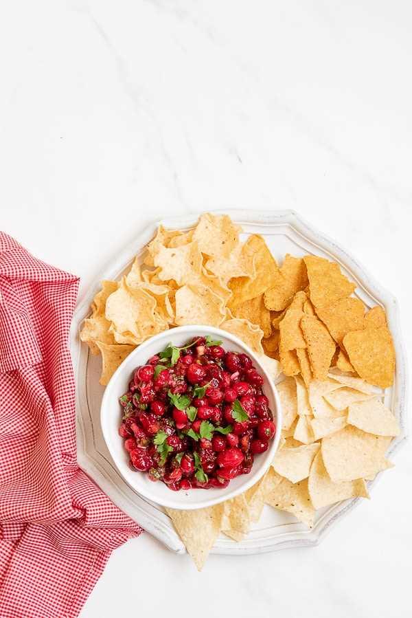 Salsa de arándanos con una mezcla de chips de tortilla