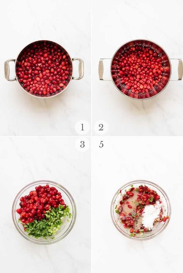 etapas de instruções para o molho de cranberry (colagem de fotos)