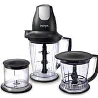 Licuadora Ninja / Procesador de alimentos con base de 450 vatios, jarra de 48 oz, recipiente de picador de 16 oz y recipiente de procesador de 40 oz para batidos, batidos y preparación de comidas (QB1004)
