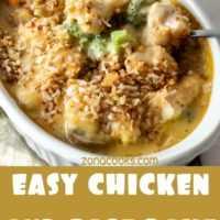 Cena fácil de pollo y arroz horneado para dos