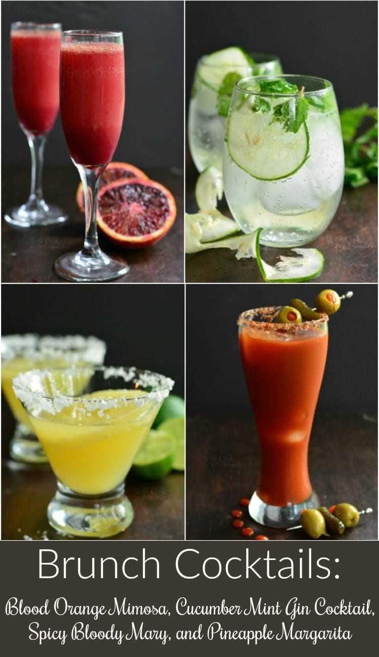 Cócteles Brunch! Aquí encontrarás una Mimosa de naranja sanguina, un cóctel de pepino, menta y ginebra, Bloody Mary picante y Margarita de piña. #mimosa #margarita #bloodymary #gincocktail #brunchcocktails