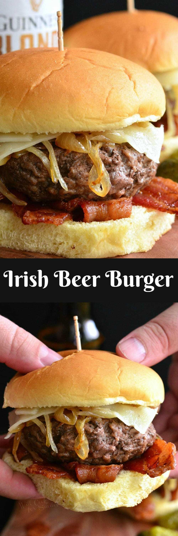 Hamburguesa de cerveza irlandesa. Deliciosa y jugosa hamburguesa de cerveza hecha con cebollas caramelizadas Guinness, queso suizo y tocino crujiente, todo en un rollo de papa.