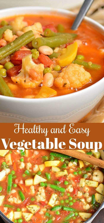 La sopa de verduras fácil es saludable, abundante y muy fácil de hacer en unos 30 minutos. Esta sopa está cargada con muchas verduras frescas y frijoles blancos. #saludable #soup #vegetables #vegetablesoup