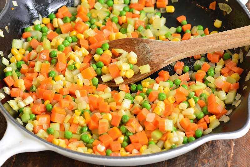 verduras para pastel de pavo