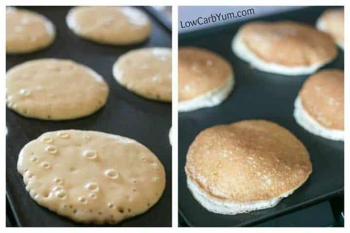panqueques sin gluten bajos en carbohidratos que se cocinan en la plancha