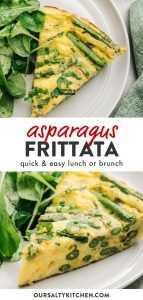 Collage de Pinterest para una receta de frittata de espárragos.