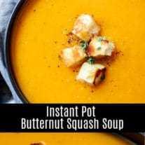 Esta rápida y fácil Sopa Instantánea de Calabaza Butternut es una receta de sopa saludable hecha a base de cocción a presión de calabaza y algunos ingredientes simples. Es una sopa vegana, paleo, sin gluten, sin lácteos, perfecta para el otoño o el invierno. #butternutsquash #instantpot #pressurecookerrecipe #soup #fall #homemadeinterest