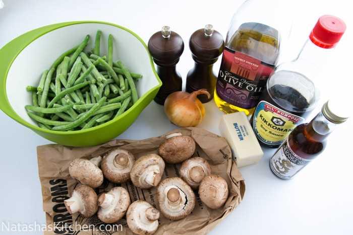 Feijão verde com cogumelos