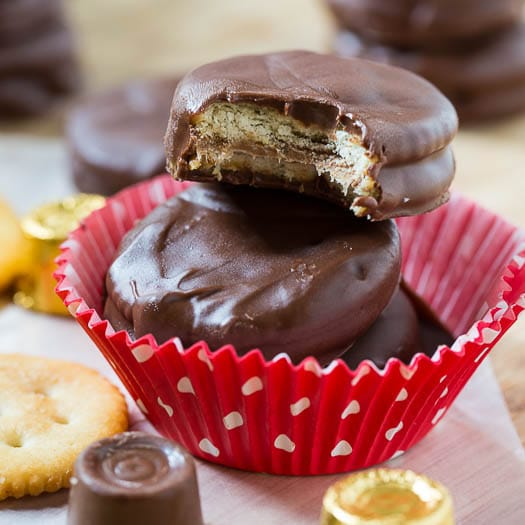 Chocolate Coated Ritz Cookies Stuffed with Rolos