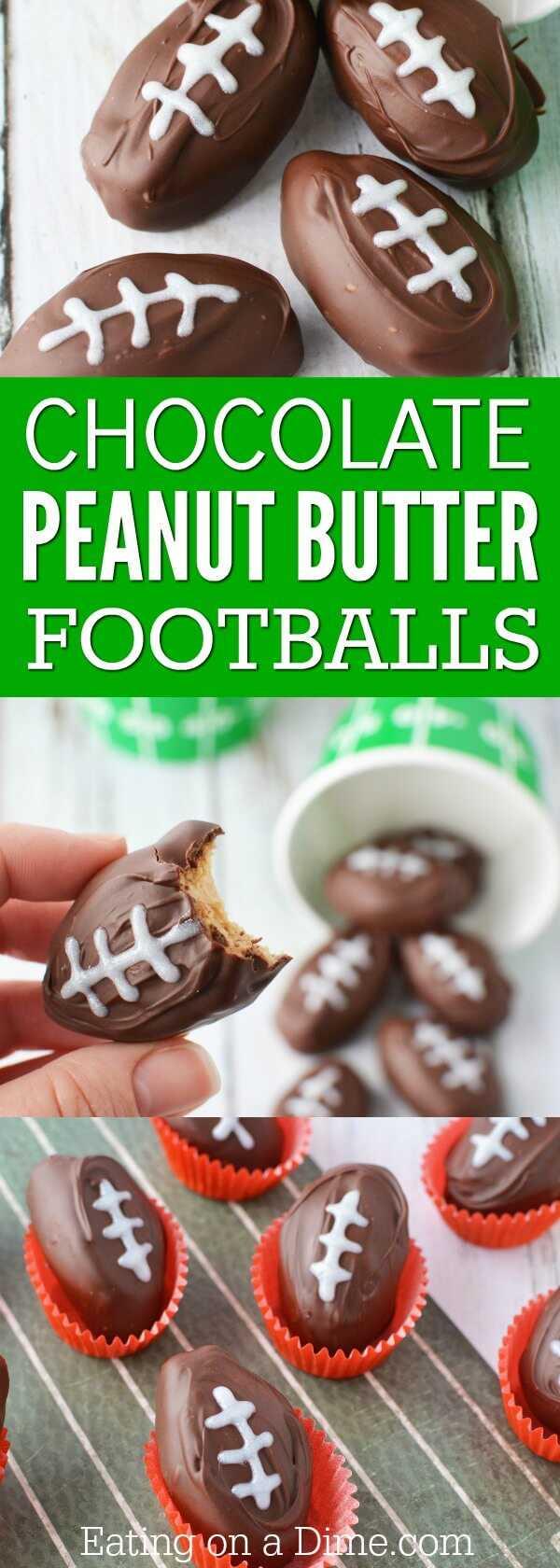 ¡Disfruta de estas bolas de mantequilla de maní de chocolate en forma de fútbol que son perfectas para el gran juego! ¡Cremoso y delicioso y tan lindo! Obtén todos los consejos aquí.