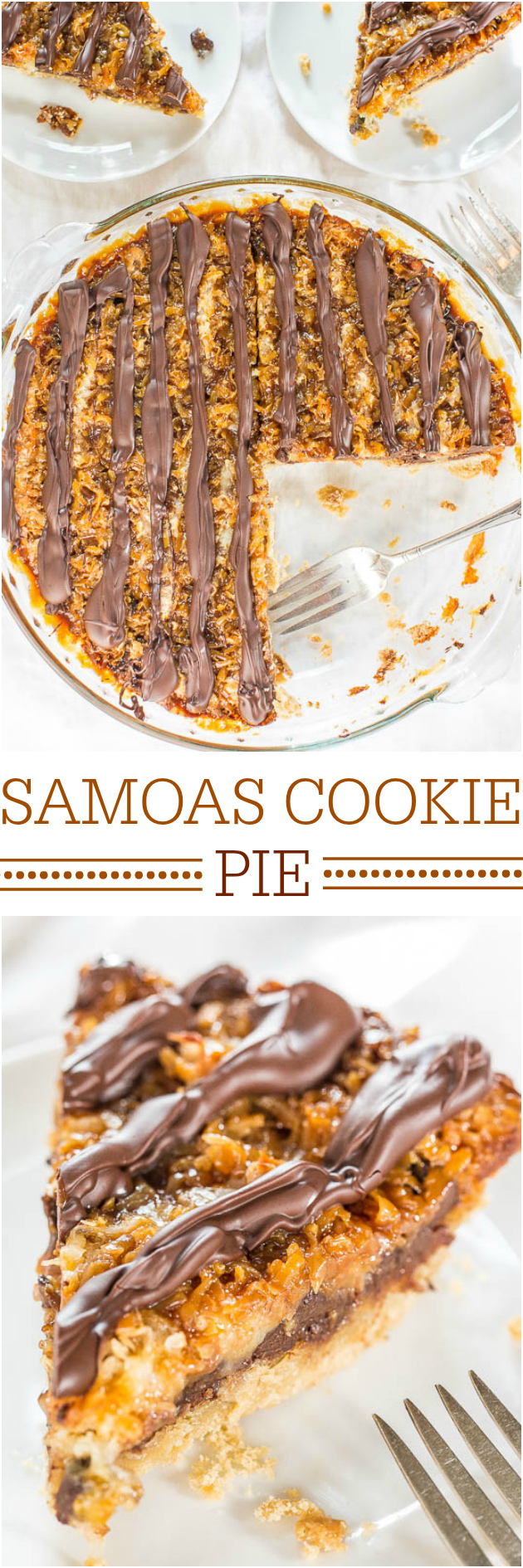 Samoas Cookie Pie - ¡Muévete sobre las galletas de Girl Scouts! ¡El sabor de esta galleta gigante fácil es 100% perfecto! ¡Hola temporada de galletas todo el año!