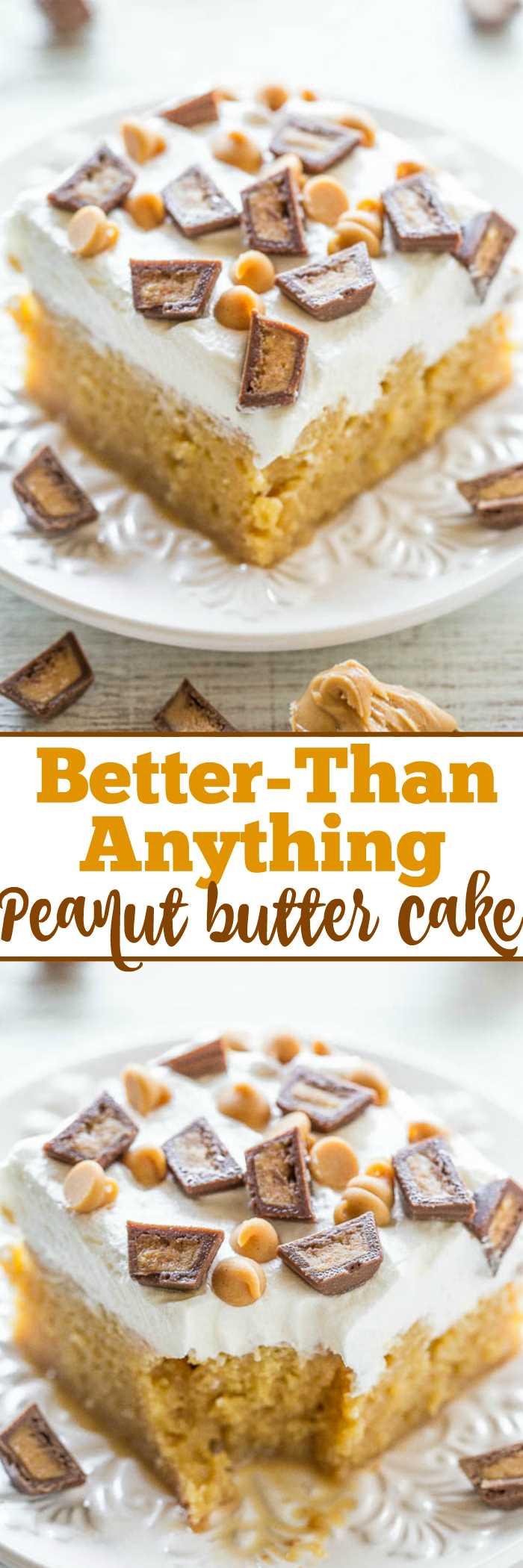Torta de manteiga de amendoim melhor do que qualquer coisa: sonho dos amantes de manteiga de amendoim: PB, batatas fritas e copos PB! Um bolo fácil de misturar, mergulhado em caramelo para mantê-lo super úmido! Ele faz jus ao seu nome e tem um sabor INCRÍVEL !!