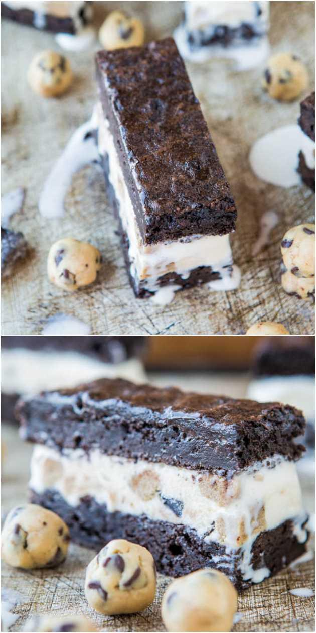 Sanduíches Fudgy de sorvete com massa de biscoito e brownie - Brownies fudgy caseiros com sorvete de massa de biscoito e massa extra de biscoito caseiro (seguro de comer cru). Tão bom!