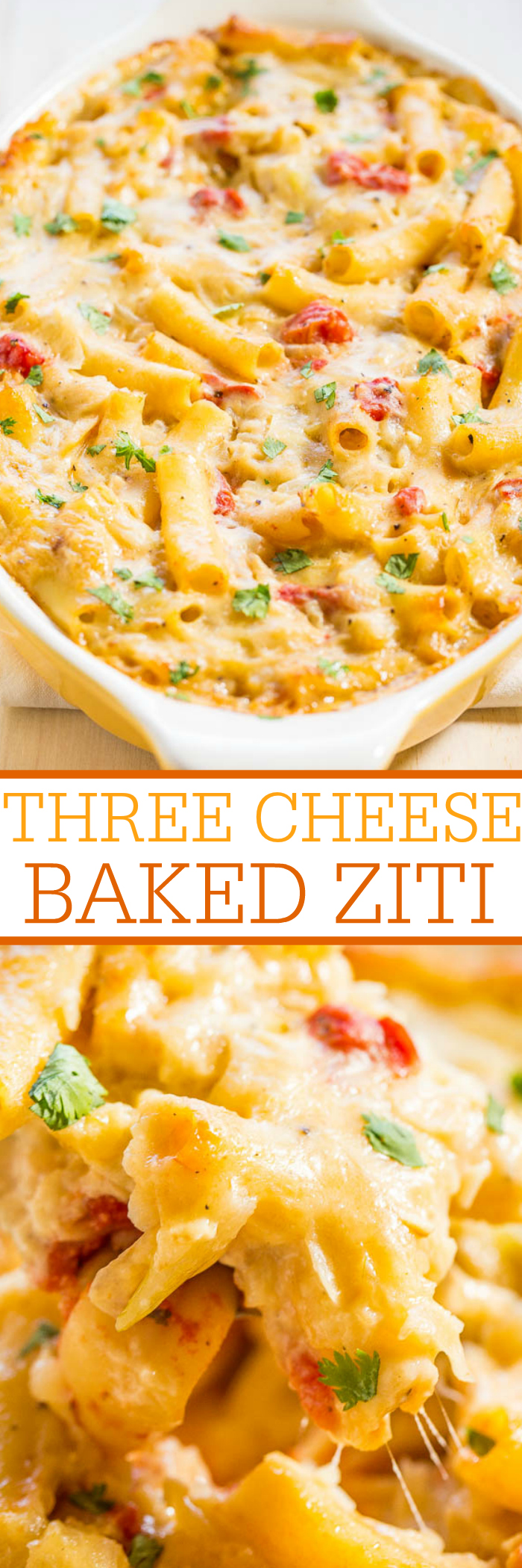 Baked Ziti with three cheeses: Mozzarella, Fontina and Parmesan melted together are divine! An easy meal to prepare that can also be frozen and is very tasty! The whole family will love it!