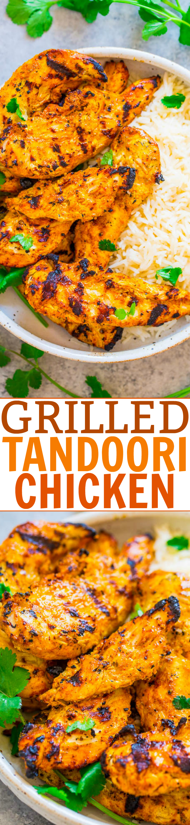 Grilled Tandoori Chicken - Recreate this Indian favorite QUICKLY and EASILY at home! If you're looking for a new twist on grilled chicken, this is THE recipe to try! Super juicy, tasty, and LOVE IT!