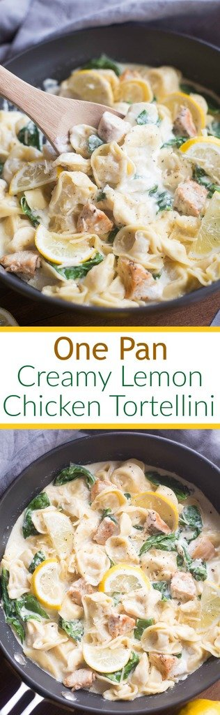 One Pan Creamy Lemon Chicken Tortellini - An easy bread pasta dish that the whole family will love. Tortellini pasta with grilled chicken and fresh spinach in a warm and cheesy lemon-garlic sauce. The | Tastes better from scratch