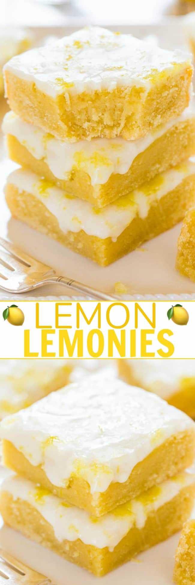 Lemon Lemonies - ¡Como los brownies de limón, pero hechos con limón y chocolate blanco! Denso, masticable, no cakey y lleno de sabor a limón grande y audaz. Siempre una multitud FAVORITA!