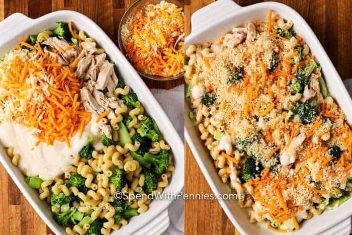 Dos imágenes que muestran los ingredientes de la cazuela de pollo con brócoli en una cacerola, luego se combinan y se cubren con pan rallado.