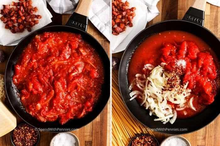 Dos imágenes que muestran los pasos para preparar la salsa de tomate casera.